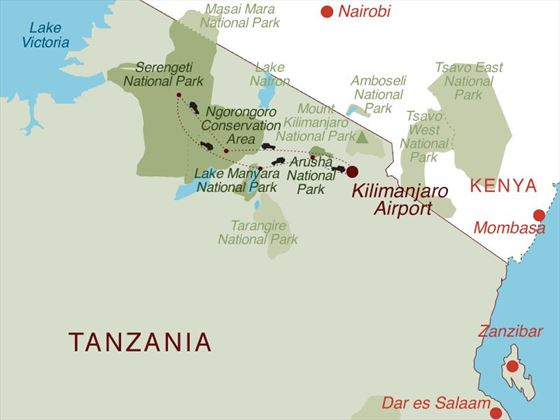 Highlights of Tanzania Map