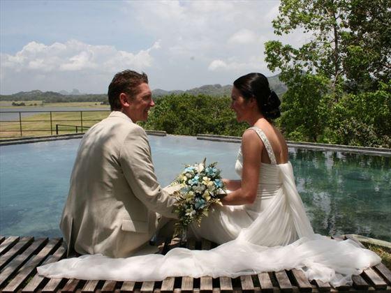 Bride and Groom at the Heritance Kandalama