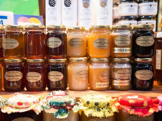 Chilliwack River Valley Natural Honey stall, Granville Island Public Market