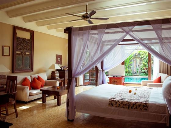 The Dedari Suite bedroom at Hotel Tugu Bali, Canggu Beach