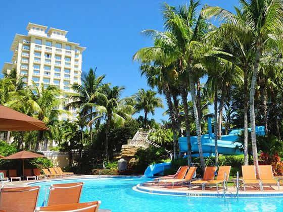 The hotel's pool features a 140 ft waterslide