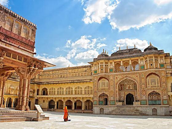 Inside the ornately detailed Amber Fort, Jaipur