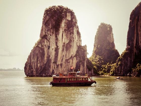 Junk boat sailing on Ha Long Bay