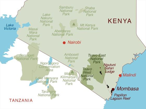 Kenya Beach and Overnight Safari Map