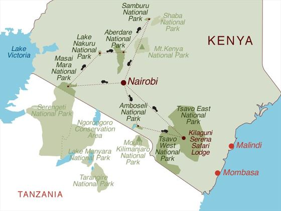 Kenya Panorama 4X4 Safari Map