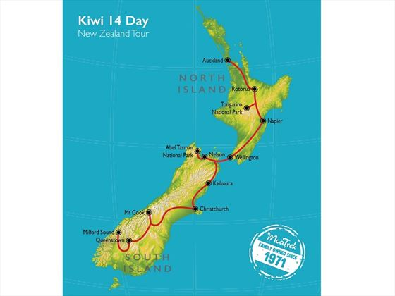 North to South Island Kiwi map