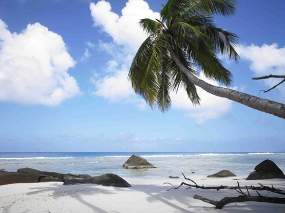 The beach at Hilton Seychelles Labriz