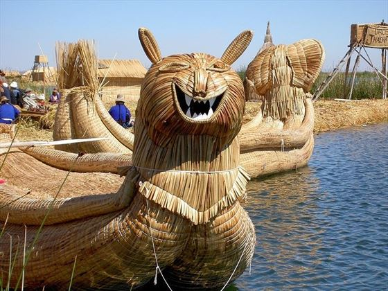 Unique boats in Lake Titicaca