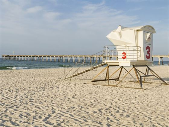 Lifeguard station and pier, Pensacola, Florida