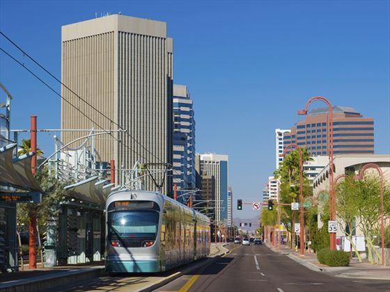 Light rail train in Midtown Phoenix