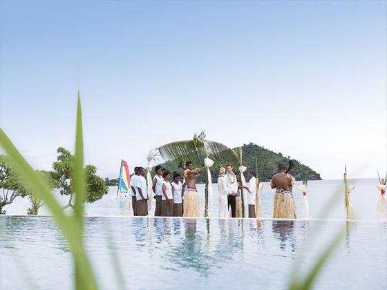 Wedding party at Likuliku Lagoon Resort