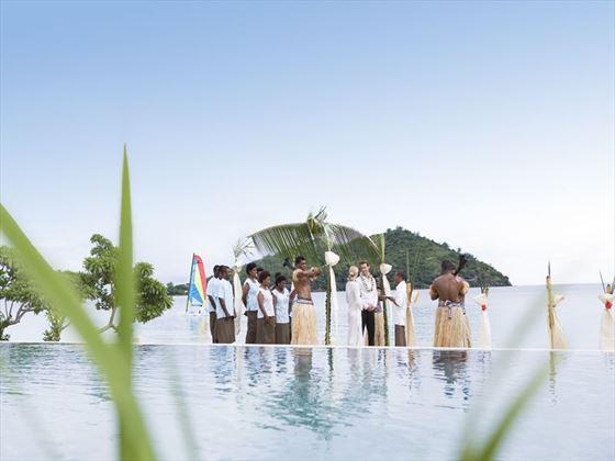Wedding party at Likuliku Lagoon Resort