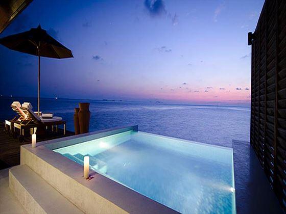 Lily Beach Resort & Spa Sunset Water Villa open-air Jacuzzi