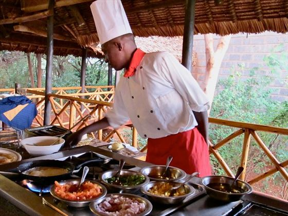 Live cooking station at Ngutuni Safari Lodge