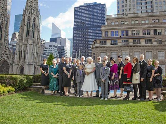 The wedding party at Rockefeller Center Loft & Garden