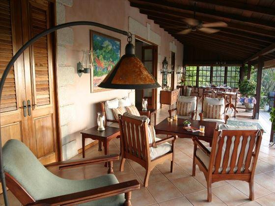 The seating area on the veranda