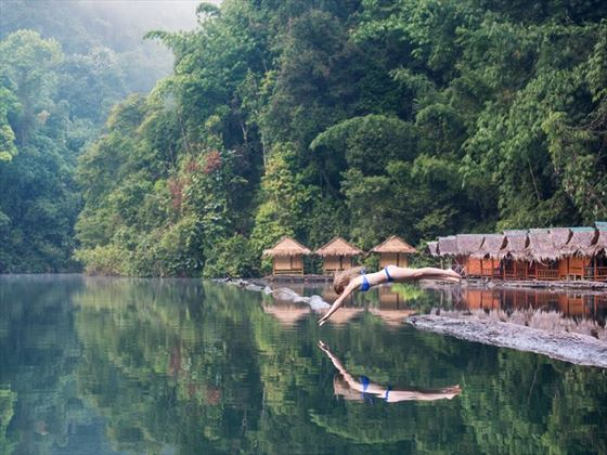 Diving into the water at Khao Sok National Park