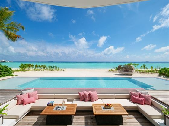 Beach Villa pool at LUX* North Male Atoll