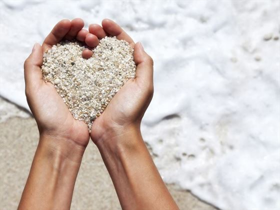 Heart made of sand at LUX* South Ari Atoll