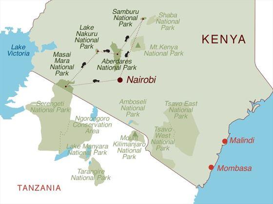 Magical Kenya 4x4 Safari Map