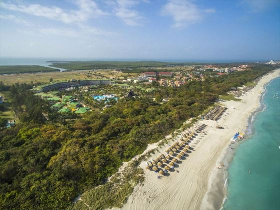 Melia Las Antillas and beach aerial view