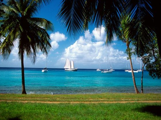 Sailing boats at Mustique Island