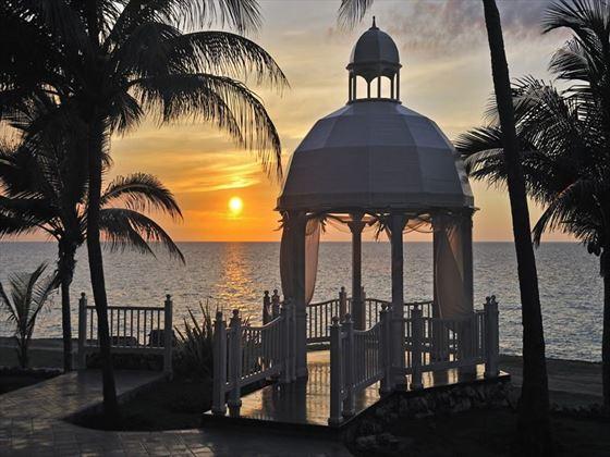 Sunset over the wedding gazebo at Melia Varadero