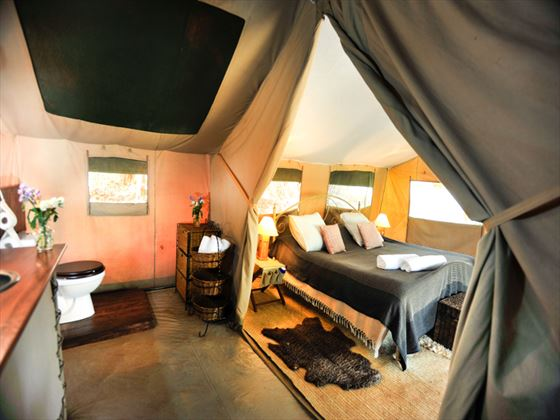 Nairobi Tented Camp bedroom and bathroom