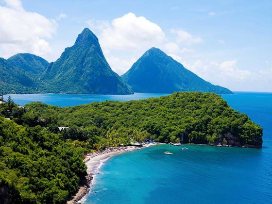 The stunning Pitons view from Anse Chastanet