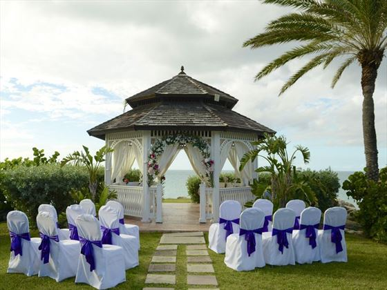 The wedding gazebo at Blue Waters Antigua
