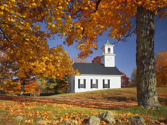 New Hampshire country church in autumn
