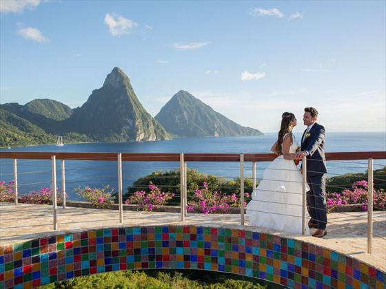 The Celestial Terrace offers one of the Caribbean's most spectacular wedding locations possible