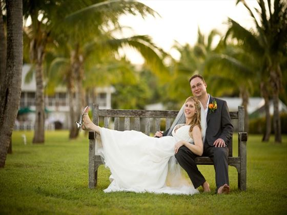 Relaxing wedding couple at Nisbet Plantation Beach Club