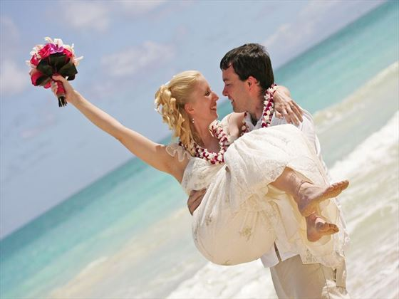 Just married, Hawaiian style