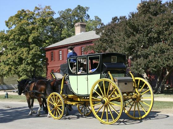 Old fashioned horse and cart, Williamsburg