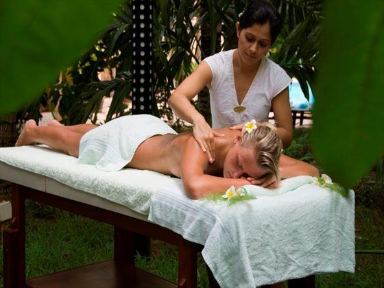 Outdoor massage treatment at Le Palmiste
