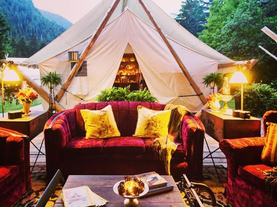 Outdoor tented lounge at Clayoquot Wilderness Resort