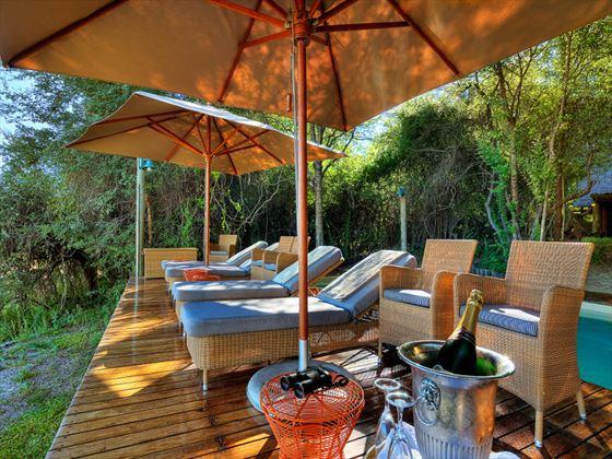 Outside lounge deck at Savute Safari Lodge
