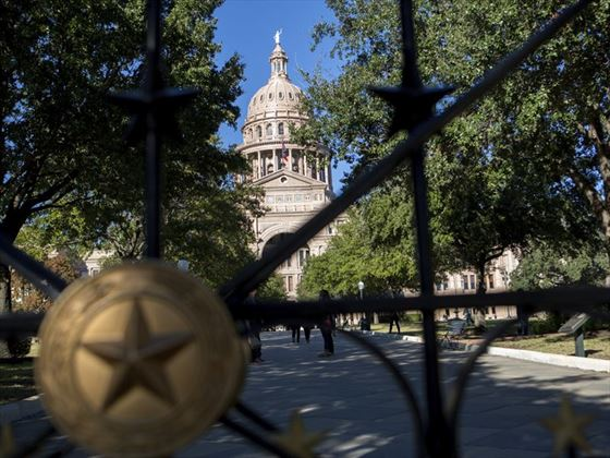 Outside the gates of Texas's State Capitol Building