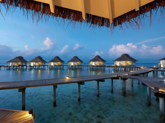 Over Water Villas at night time