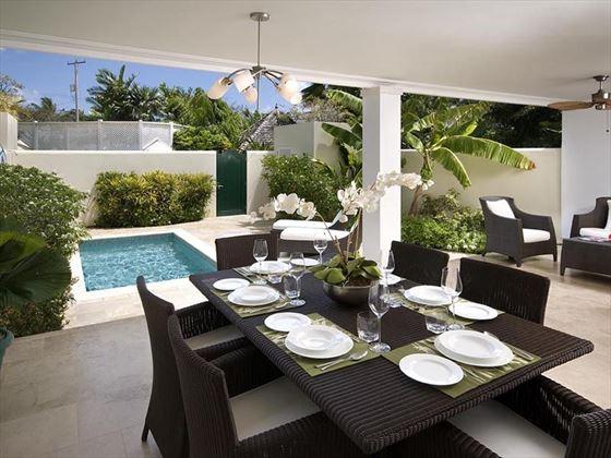 Dine on the shady terrace