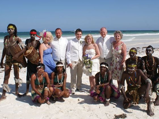 Bride, Groom and guests at Papillon Lagoon Reef