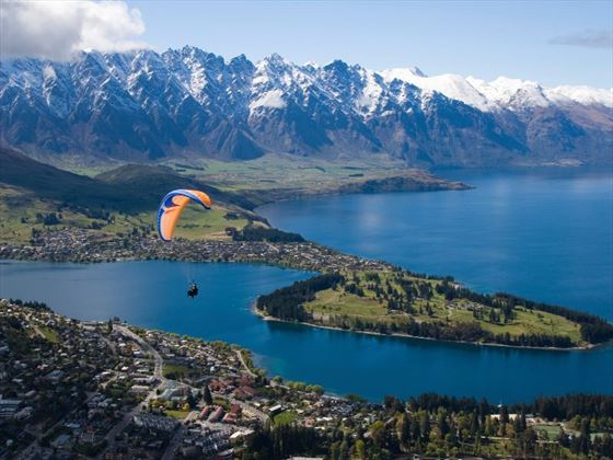 Paraglider over Queenstown