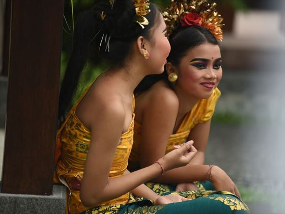 Balinese flower girls attending the wedding