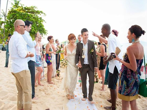 Wedding party on the beach at the Peace Resort Samui