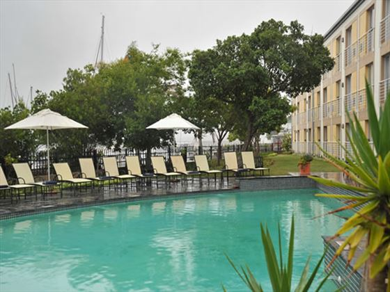Pool and loungers at Protea Hotel Knysna Quay
