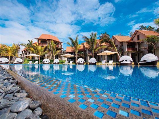 Pool view at Maritim Crystals Beach Hotel