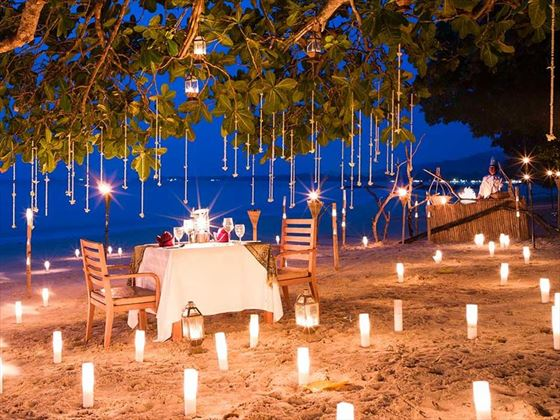 Private dining on the beach at Sarojin