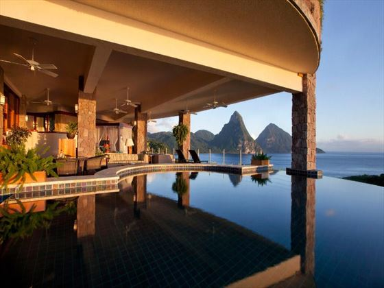 Private infinity pool at Jade Mountain