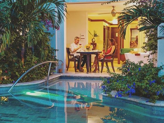 Private poolside dining at Sandals Barbados